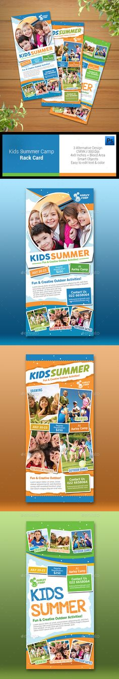 Kids Summer Camp Rack Card - Corporate Business Cards