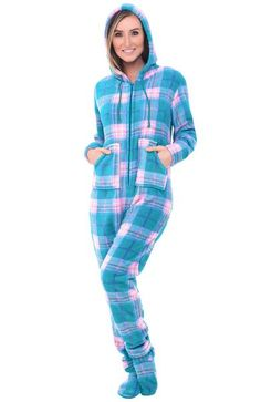 13ae10b824 Womens Hooded Footed One Piece Fleece Pajama Set