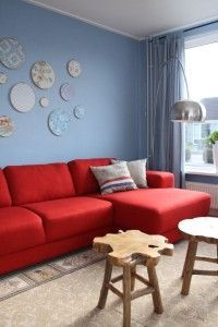 Red Sofa With Pale Blue Walls
