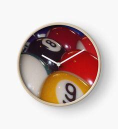 Eightball, Colorful Traditional Eight Balls Clock