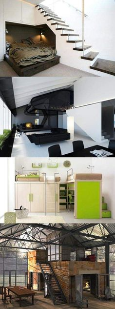 Compact Open Spaces!  But I LOVE the green house one!  Would so love to live in a house like that when I retire.
