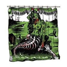 Tattoo Sailors Beware Shower Curtain Mermaid Pinup Zombie Punk Tattooed