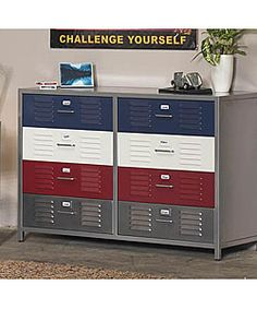 <br><li>Unique locker-style dresser updates any kid's room with fun style<li>Eight-drawer design with two blue, two red, two white, and two silver locker drawers<li>Dresser measures 49 inches wide x 21 inches deep x 33 inches high Locker Furniture, Boys Bedroom Furniture, Boy Dresser, 8 Drawer Dresser, Bedroom Boys, Furniture Outlet, Online Furniture, Furniture Sets, Houses