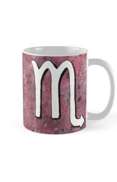 """Zodiac sign : Scorpio"" Mug by Savousepate on Redbubble #mug #astrology #astrologicalsign #zodiacsign #scorpio #purple #burgundy #black #white #watercolorpainting"