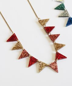 Learn how to make your own unique Bunting Necklace at our popular Brick Lane jewellery making workshop. On the day you'll choose from brightly coloured, mirrored, glitter and printed acrylic pieces to create a necklace in your dream colourway - the possibilities are endless!