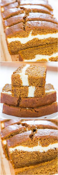 Pumpkin Bread - Pumpkin bread that's like having cheesecake baked in! Soft, fluffy, easy and tastes ahhhh-mazing!Cheese-Filled Pumpkin Bread - Pumpkin bread that's like having cheesecake baked in! Soft, fluffy, easy and tastes ahhhh-mazing! Pumpkin Cream Cheese Bread, Best Pumpkin Bread Recipe, Pumpkin Recipes, Pumpkin Pumpkin, Pumpkin Bars, Fall Recipes, Pumpkin Spice, Köstliche Desserts, Dessert Recipes