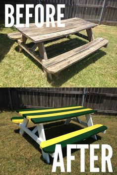 Now this is a seriously Baylor Proud #DIY project! Refinish your old picnic table with green and gold stripes. #SicEm