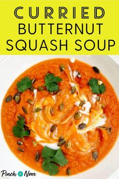 This Curried Butternut Squash Soup packs a punch, but also has a little extra something in the garnish. #curried #butternut #squash #soup