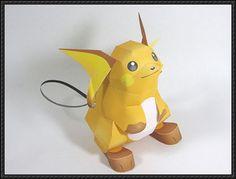 Pokemon - Raichu Free Papercraft Template Download