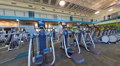 Cardio Equipment | The new 67,000 sg. ft. facility has everything needed for fitness within the gym, training center or pool; from a 24/7 accessible main fitness floor with more more than 60 cardio machines, a 1/10th mile elevated Mondo track , a 6,200 sq. ft. indoor sports performance center's synthetic turf, specialized activity and multi-purpose rooms, a 4 lane 25-yard lap pool, a therapy pool and a co-ed whirlpool. All being supported by a friendly, professionally-certified staff.