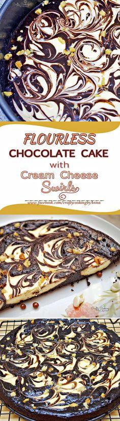 Amazing Flour-less Chocolate Cake with Cream Cheese Swirls! #Flourless #Easy #Delicious #Gluten-Free #Dessert