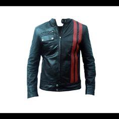 Smart Cafe Racer Retro Style Striped Leather Jacket