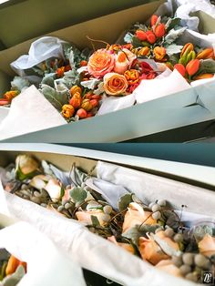 Amy + Nick ~ Chic Chicago Fall Wedding | ZuZu's Petals | Photo Credit: Colin Lyons Photography | Peach, orange, red tones for bouquets, boutonnieres. Roses, tulips, callas, brunia and dusty miller. Perfect fall wedding flowers. Modern, chic bouquets.