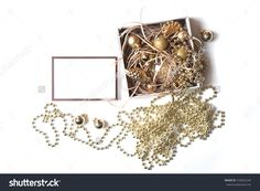 Composition With White Open Gift Box With Bright Golden Christmas Balls In Decorative Paper, Empty Rose Golden Frame, Gold Garland Isolated On White Background. Flat Lay, Top View. Gift Concept Stock Photo 535822234 : Shutterstock