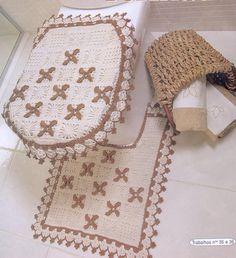 Jogo de Banheiro Feito de Crochê Com Barbante