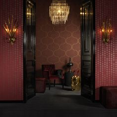 I love the wallpaper and the colors of the room...not to mention the chandelier.