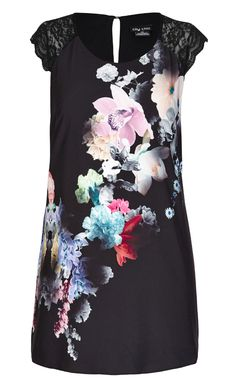 City Chic - PLACEMENT FLORAL DRESS - Women's Plus Size Fashion