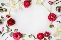 Floral frame with ranunculus by Floral Deco on @creativemarket