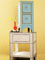 $10 Crafts to Update Your Home, DIY Studded Nightstand   http://www.rachaelraymag.com/fun-how-to/makeover-old-stuff//1/