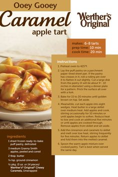 This 5 ingredient Ooey Gooey Caramel Apple tart is the easiest apple tart recipe you'll ever find! Light puff pastry, crisp apples, butter, ground cinnamon, and chewy caramels is all you need for a delicious tart ready in 30 minutes! Tart Recipes, Fruit Recipes, Apple Recipes, Sweet Recipes, Holiday Recipes, Dessert Recipes, Cooking Recipes, Recipies, Vegan Recipes