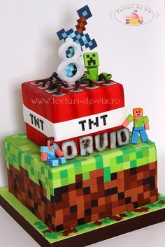 Party and event ideas and inspirations Minecraft Torte, Minecraft Birthday Cake, Mindcraft Cakes, 8th Birthday Cake, Birthday Ideas, Creeper Cake, Cakes For Boys, Occasion Cakes, Cake Creations