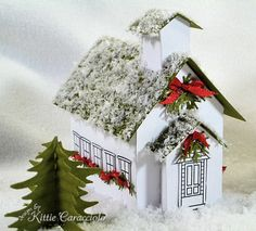 Last night I finished my tiny ornament size school house, the last of the three buildings for my Christmas village made with the Martha Stewart Winter Village templates. I had big plans to do several buildings but three is. Christmas Village Houses, Putz Houses, Christmas Villages, Mini Houses, Christmas Makes, Christmas Home, Christmas Glitter, Christmas Projects, Christmas Stuff