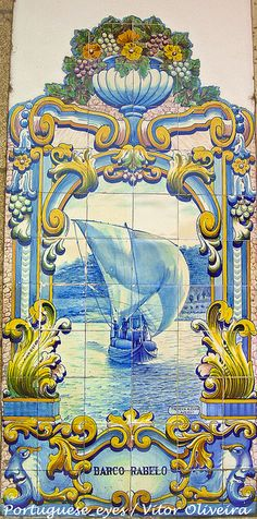 stock photo : tiles (azulejos) at railway station of Pinhao, Douro Valley, Portugal Tile Murals, Tile Art, Mosaic Art, Mosaic Tiles, Tiling, Portuguese Culture, Portuguese Tiles, Visit Portugal, Portugal Travel
