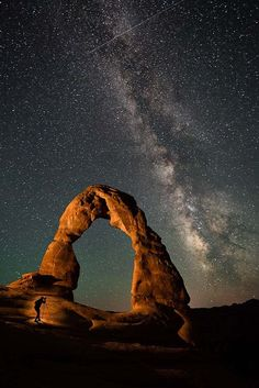 Self-portrait of the photographer, Travis Burke, shooting the Milky Way under Utah's Delicate Arch, with a little creative lighting from a flashlight. Camera settings: F/2.8, 50 sec., ISO 1600. Photo by Travis Burke