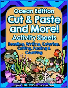 Cut & Paste and More! ~ Ocean Edition from The Teaching Treehouse on TeachersNotebook.com -  (12 pages)  - Your students will enjoy learning with these fun ocean themed printables! Included are 12 activity sheets.