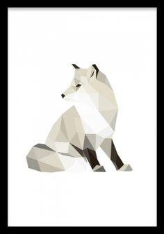 Polygon fox, poster. Grafisk tavla, polygon med räv. Grafisk polygon poster med en räv. Snygg på väggen, passar bra i kollage med fler djur eller andra grafiska motiv.