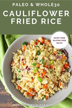 Paleo Cauliflower Fried Rice is a delicious alternative to the popular take-out dish. Whole30, gluten free, dairy free, and so amazing! #paleo #healthy #easyrecipe #dairyfree | realfoodwithjessica.com @realfoodwithjessica Quick Lunch Recipes, Whole 30 Recipes, Veggie Recipes, Paleo Recipes, Whole Food Recipes, Delicious Recipes, Paleo Side Dishes, Gluten Free Sides Dishes, Side Dishes Easy