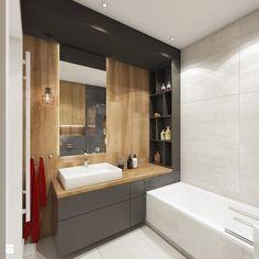 Dom w Rudzie Śląskiej - Średnia łazienka na poddaszu w bloku w domu jednorodzinnym bez okna, styl nowoczesny - zdjęcie od nanoSTUDIO