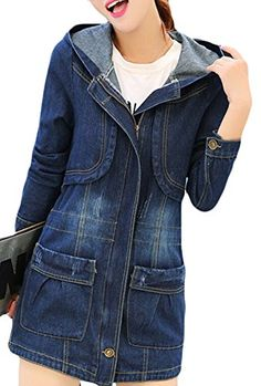 Women's Winter Button Down Hooded Denim Jacket XXL Picture color Jeans Outfit Winter, Denim Outfit, Knee Cut Jeans, Fur Lined Denim Jacket, Denim Maxi, Black Ripped Jeans, Denim Ideas, Classic Outfits, Jeans Dress