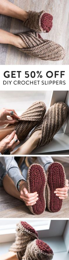 Practice your basic crochet stitches and make yourself a cozy new pair of slippers. This Crochet project kit comes with an easy to follow pattern and all the yarn you need to make your very own footwear. Create a Craftsy account and get 50% OFF!