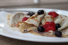 swedish pancakes (thin pancakes; eggs, almond milk, coconut flour, arrowroot, salt, butter or oil for griddle)