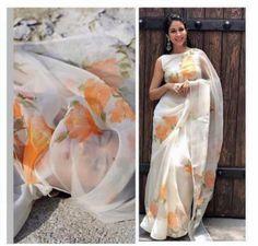 Items similar to Organza silk saree / off white saree/ designer saree/ saree for women/ wedding saree/ indian saree/ beautiful saree/ saree blouse/ saree on Etsy Floral Print Sarees, Saree Floral, Printed Sarees, Floral Prints, Floral Gown, Organza Saree, Silk Organza, Cotton Saree, Silk Fabric