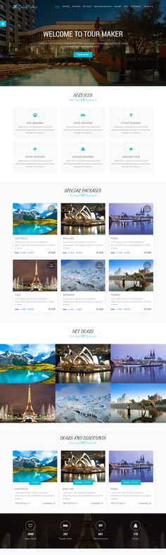 "Tour Maker – Creative Tour & Travel Agency Wordpress Theme is a uniquely designed Wordpress Theme with a flat and modern look. This is a minimal, flat, clean and modern wordpress theme for anyone who wants to build an amazing "" Modern Tourism related website. It is suitable for any corporate, creative or business agency."