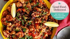 If you have never made paella, now's your chance. This simple recipe uses free-range chicken thighs, smoky chorizo and seasonal veg.