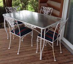 Salterini Mid Century Modern Wrought Iron Patio Table 4 Chairs Vintage