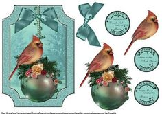 Cardinal On A Christmas Bauble on Craftsuprint designed by June Harrop - Lovely shaped card front which can be placed onto a card blank as is or can be cut to the shape.Simple to make but very effective. - Now available for download!