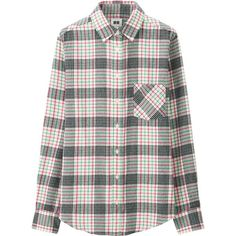 UNIQLO Women Flannel Long Sleeve Shirt ($15) ❤ liked on Polyvore featuring tops, pink, long sleeve shirts, uniqlo shirt, flannel shirts, pink top and layered tops