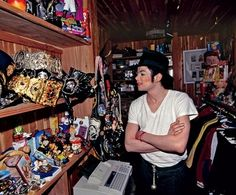 MichaelJackson in his closet at Neverland Ranch