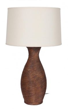 One Light Brown Beige Linen Shade Table Lamp