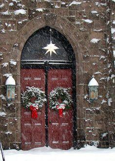 Blizzard in Riverton NJ's church doors, New Jersey