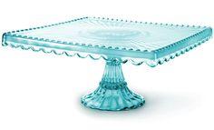 Blue Glass Square Cake Stand