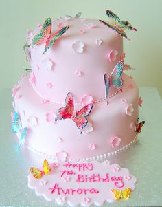 Butterfly Birthday Cake Kids Party Cakes Pink