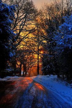 Golden snowy sunrise in London