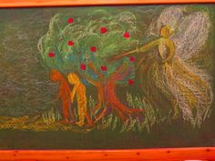 3rd grade. After eating the forbidden fruit Adam and Eve is expelled from the Garden of Eden by the Angel of Light. I teach the kids to use a technique of 'negative' drawing when we want to have white as part of our drawing. You cannot see the effect on the blackboard - since it is green - and I have to draw what is white (you can however see it on the kids drawings posted).