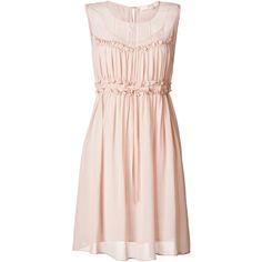 VANESSA BRUNO ATHÉ Silk Dress with Ruffle Detailing (34.620 RUB) ❤ liked on Polyvore featuring dresses, vestidos, sleeveless sheath dress, summer dresses, sleeveless dress, pink dress and silk dress