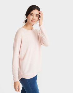 Frankie Dust Pink Curved Hem Sweater | Joules US